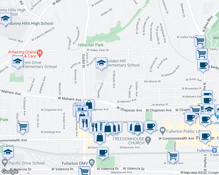 map of restaurants, bars, coffee shops, grocery stores, and more near 654 Lemon Hill Terrace in Fullerton