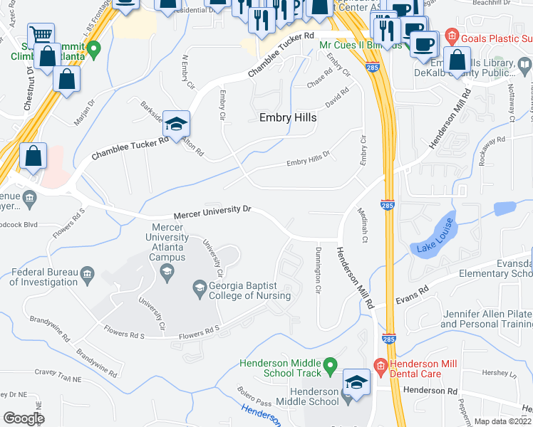 map of restaurants, bars, coffee shops, grocery stores, and more near 3233-3265 Mercer University Drive in Atlanta