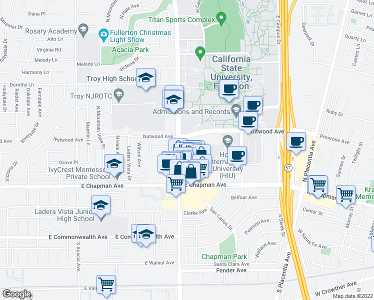 map of restaurants, bars, coffee shops, grocery stores, and more near 2404 Nutwood Avenue in Fullerton