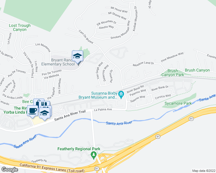 map of restaurants, bars, coffee shops, grocery stores, and more near 5680 Picasso Drive in Yorba Linda