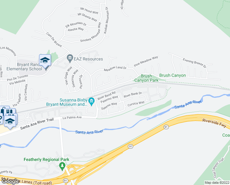map of restaurants, bars, coffee shops, grocery stores, and more near 25550 River Bend Road in Yorba Linda