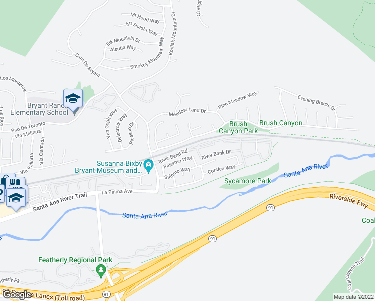 map of restaurants, bars, coffee shops, grocery stores, and more near 25550 River Bend Drive in Yorba Linda