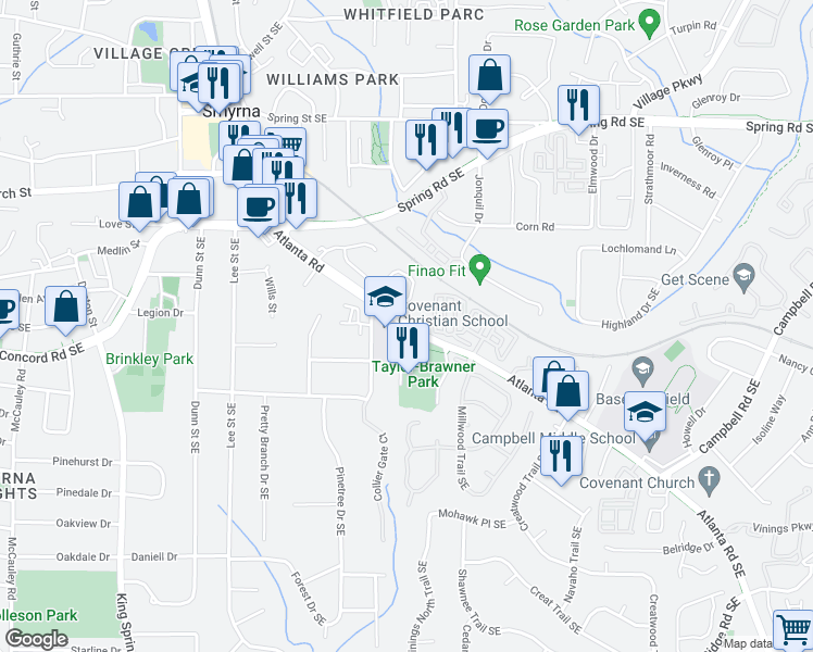 map of restaurants, bars, coffee shops, grocery stores, and more near 3042 Montclair Circle Southeast in Smyrna