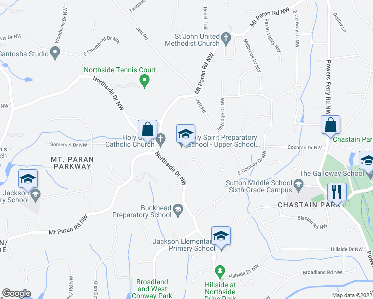 map of restaurants, bars, coffee shops, grocery stores, and more near 4449 Northside Drive Northwest in Atlanta