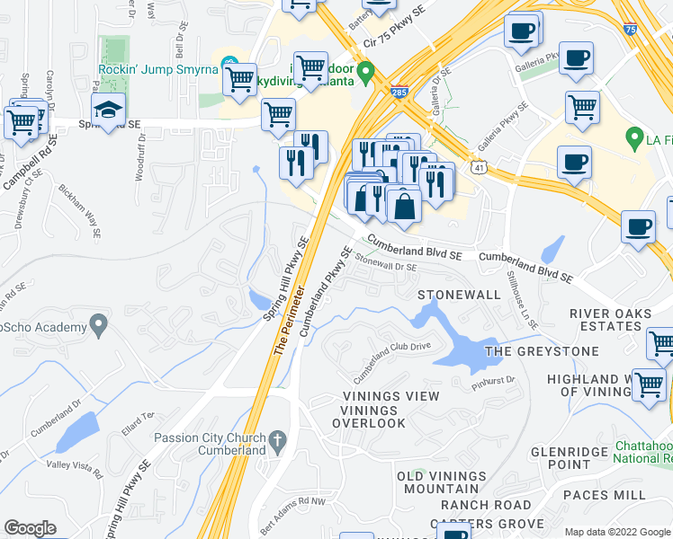 map of restaurants, bars, coffee shops, grocery stores, and more near 3695 Cumberland Parkway Southeast in Atlanta