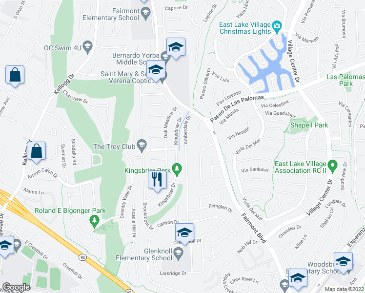map of restaurants, bars, coffee shops, grocery stores, and more near 5751 Amberdale Drive in Yorba Linda