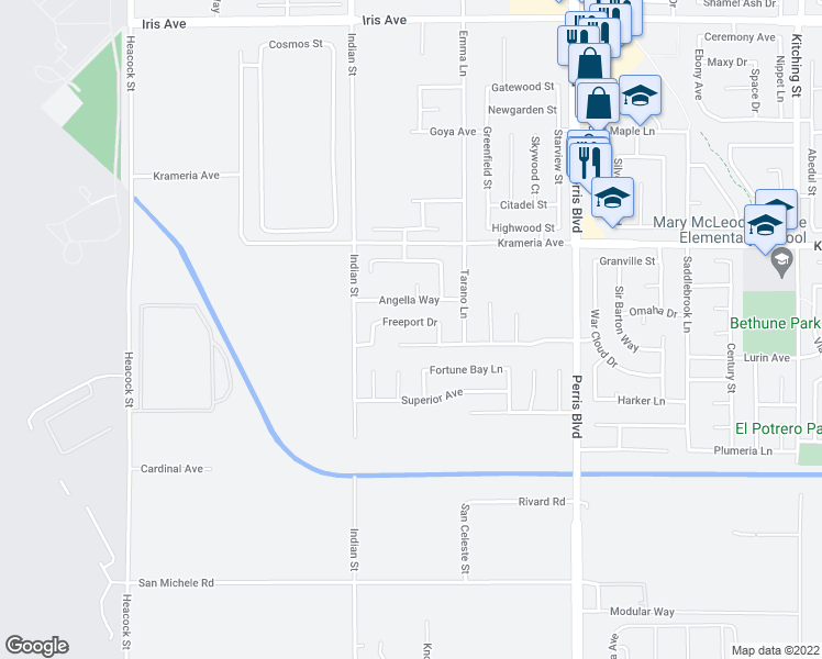 map of restaurants, bars, coffee shops, grocery stores, and more near 24633 Freeport Dr in Moreno Valley
