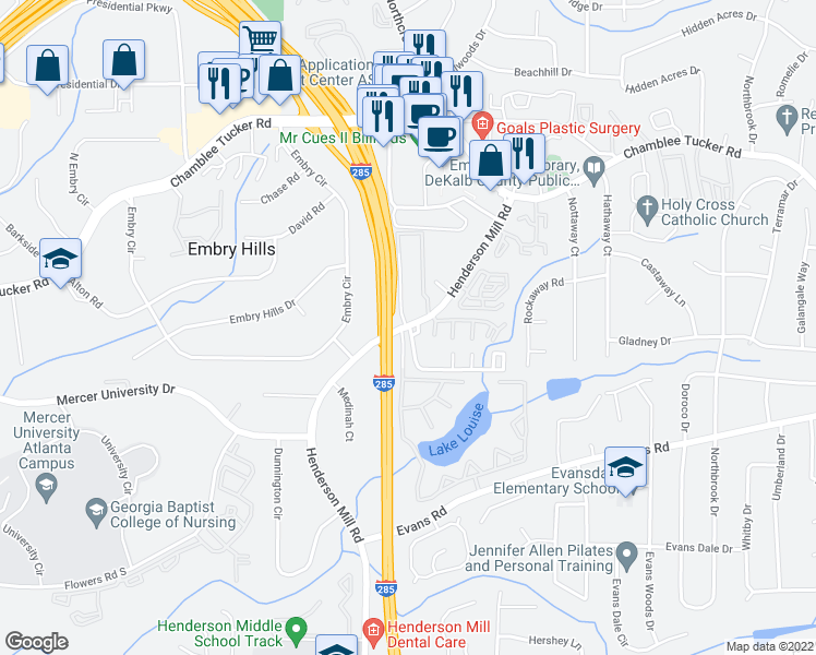 map of restaurants, bars, coffee shops, grocery stores, and more near 3224-3230 Henderson Mill Road in Atlanta
