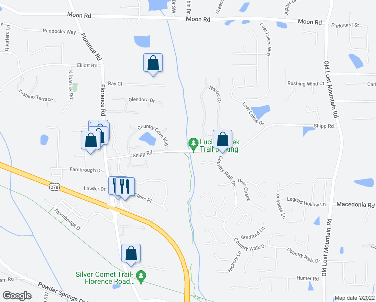 map of restaurants, bars, coffee shops, grocery stores, and more near 4893 Shipp Road in Powder Springs