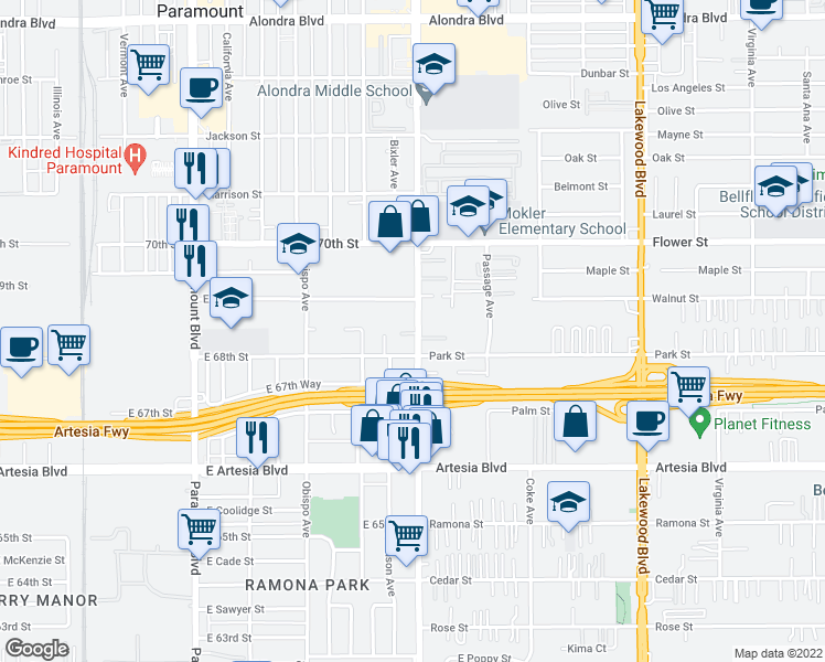 map of restaurants, bars, coffee shops, grocery stores, and more near 3495 Seacliff Cir in Long Beach