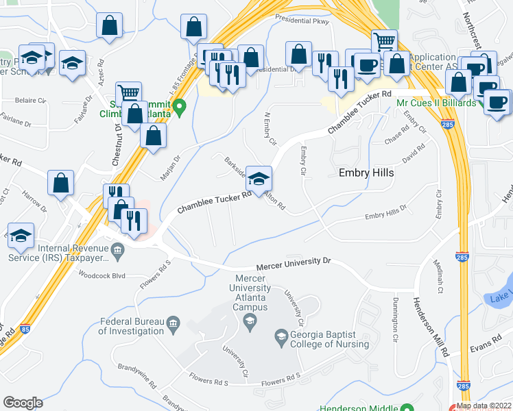 map of restaurants, bars, coffee shops, grocery stores, and more near 3075 Alton Road in Atlanta