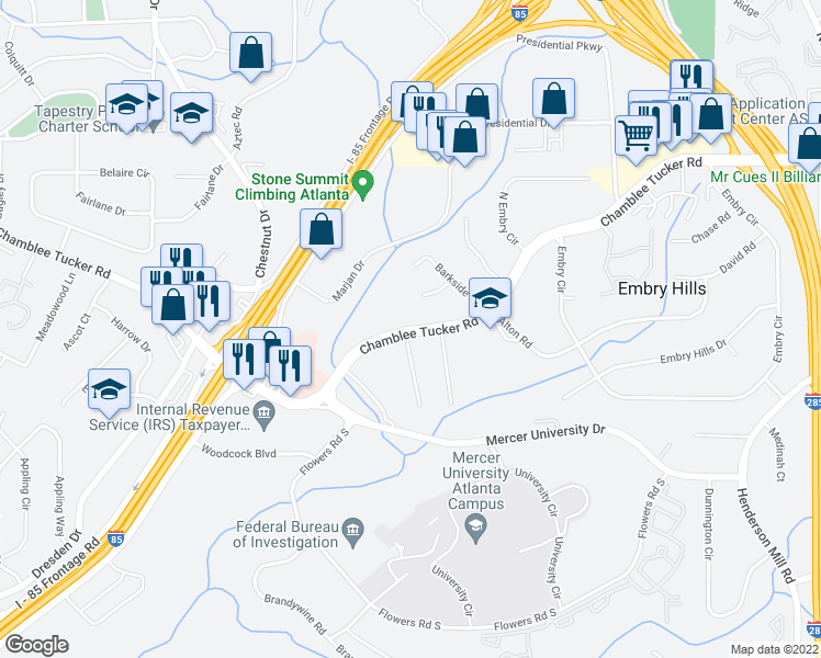 map of restaurants, bars, coffee shops, grocery stores, and more near 3003 Ridgeside Court in Chamblee