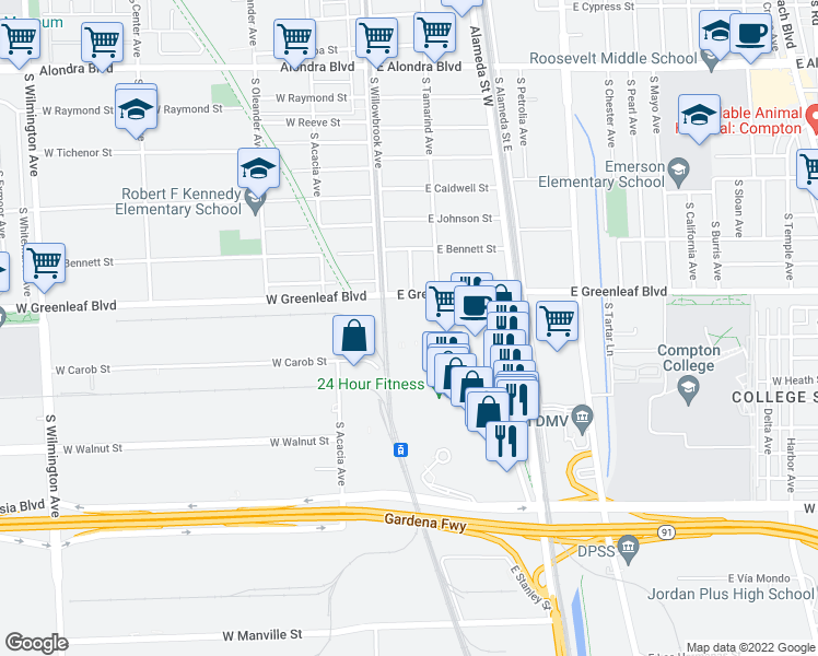 map of restaurants, bars, coffee shops, grocery stores, and more near 7 in Compton