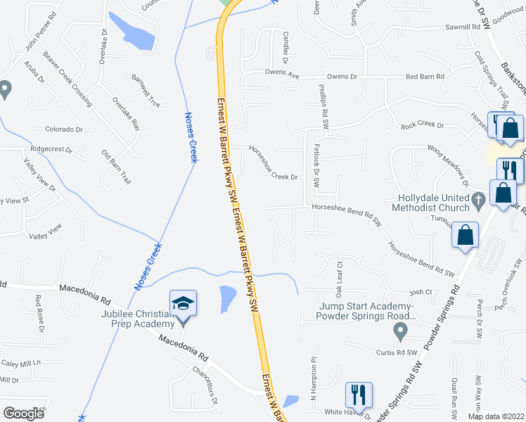 map of restaurants, bars, coffee shops, grocery stores, and more near 2728 Old Horseshoe Bend Road Southwest in Marietta