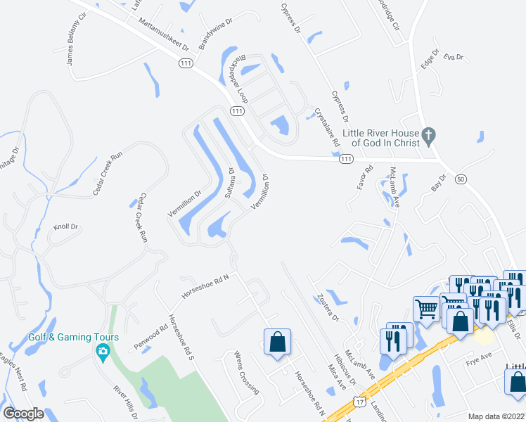 map of restaurants, bars, coffee shops, grocery stores, and more near 111 Highway 50 in Little River