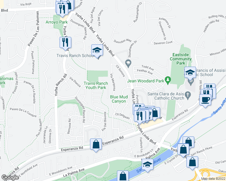 map of restaurants, bars, coffee shops, grocery stores, and more near 5495 Vía Mariposa in Yorba Linda