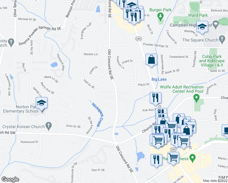 map of restaurants, bars, coffee shops, grocery stores, and more near 1140 Magnolia Way Southeast in Smyrna