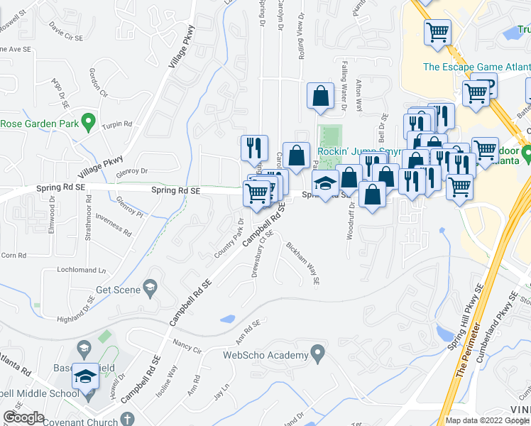 map of restaurants, bars, coffee shops, grocery stores, and more near 2350 Spring Road Southeast in Smyrna
