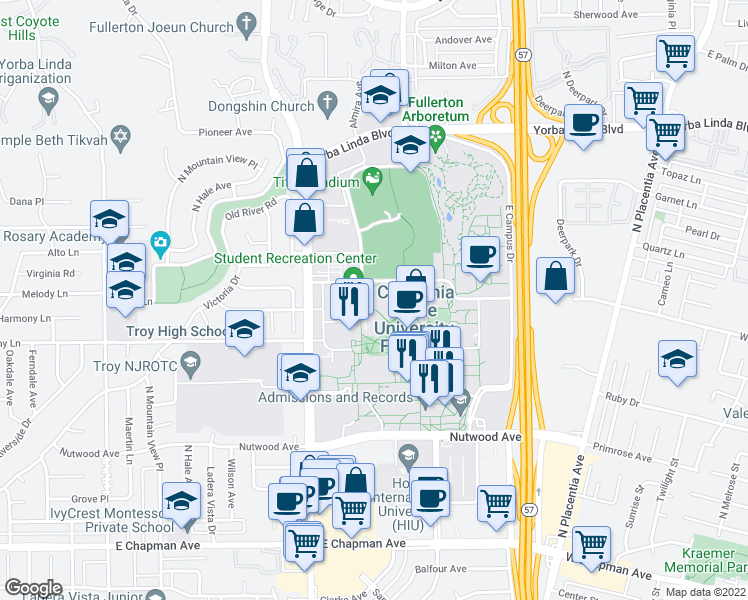 map of restaurants, bars, coffee shops, grocery stores, and more near 800 North State College Boulevard in Fullerton