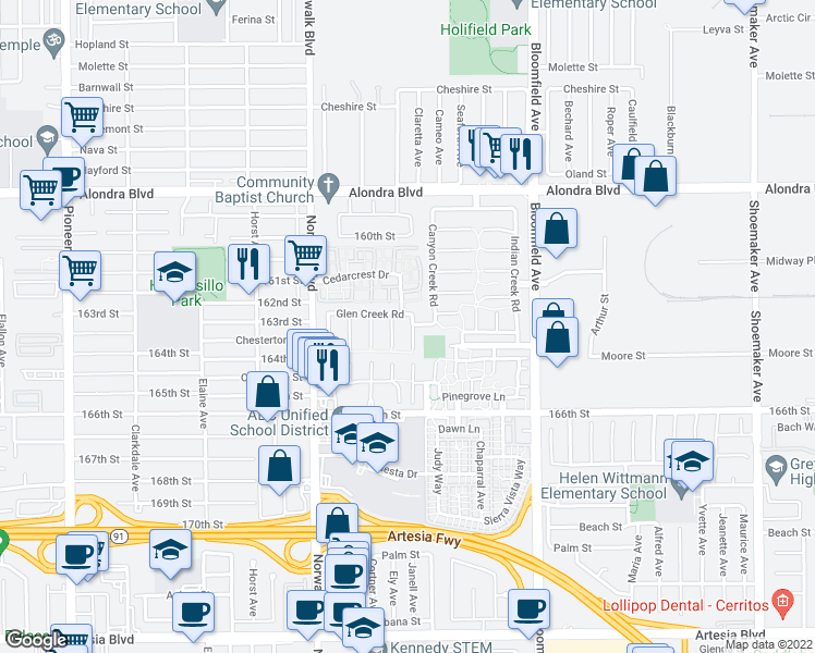 map of restaurants, bars, coffee shops, grocery stores, and more near 16229 Flat Peak Lane in Cerritos