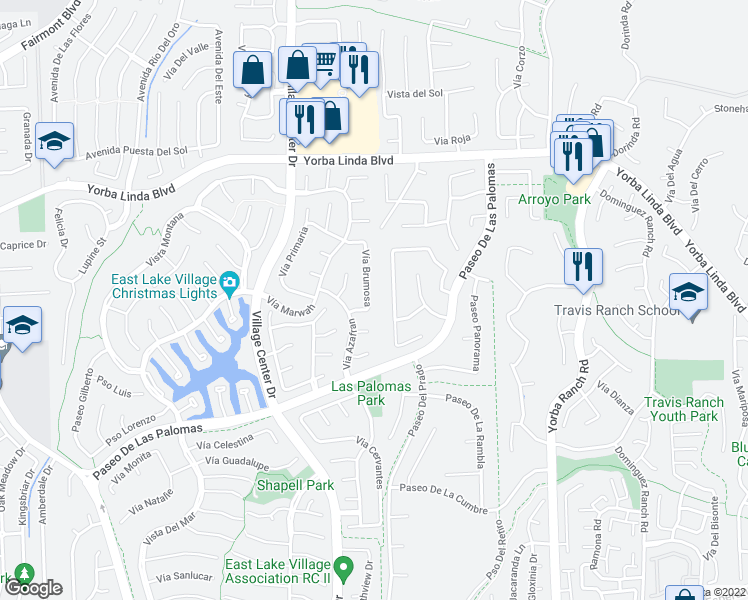 map of restaurants, bars, coffee shops, grocery stores, and more near Vía Brumosa in Yorba Linda