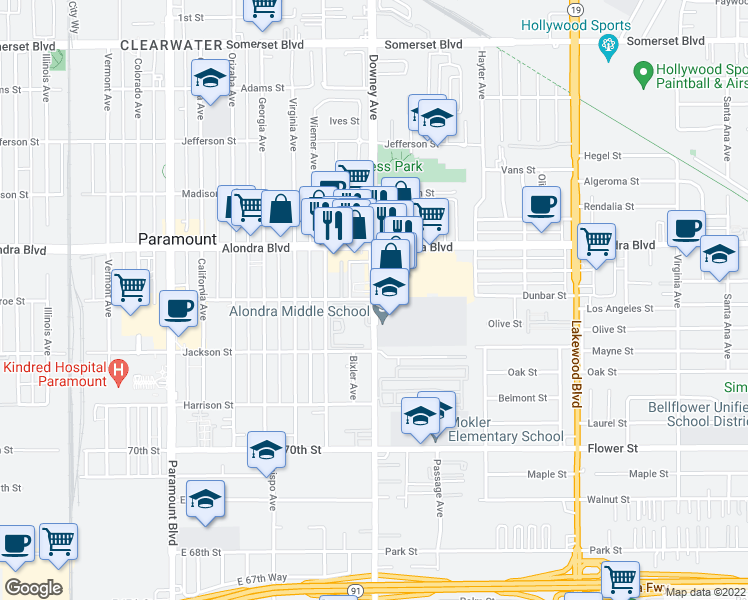 map of restaurants, bars, coffee shops, grocery stores, and more near 15931 Downey Avenue in Paramount
