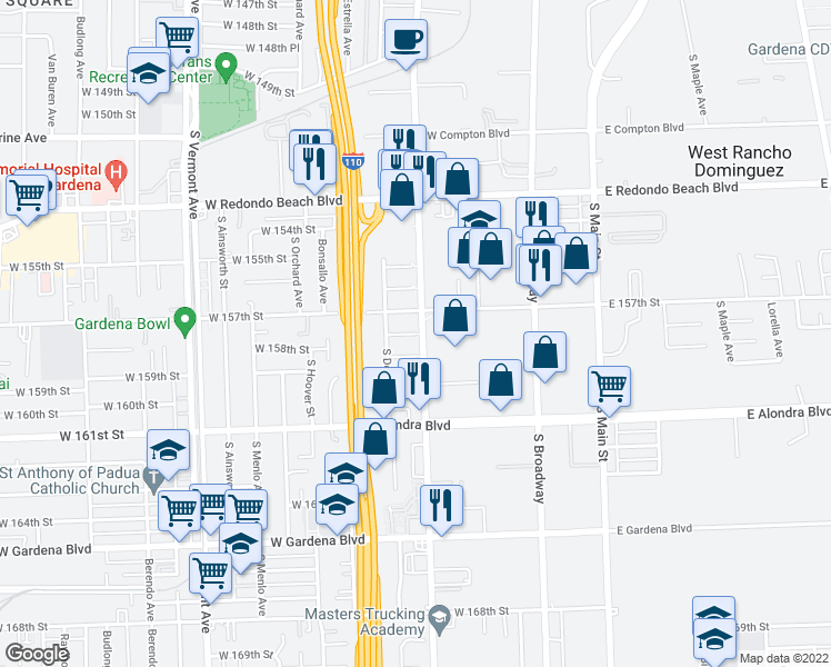 map of restaurants, bars, coffee shops, grocery stores, and more near 333 West 158th Street in Gardena