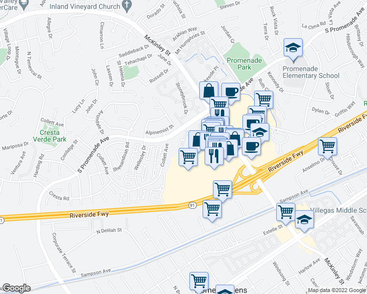 map of restaurants, bars, coffee shops, grocery stores, and more near 2090 Highpointe Drive in Corona