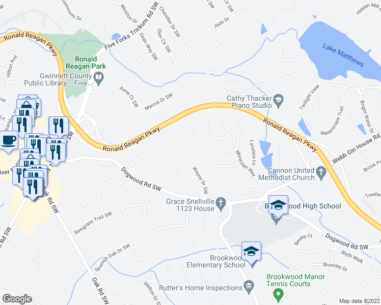 map of restaurants, bars, coffee shops, grocery stores, and more near 1018 Wayne Dr in Snellville