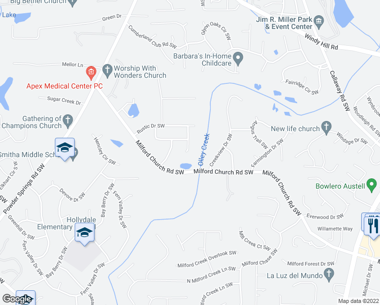 map of restaurants, bars, coffee shops, grocery stores, and more near 2661 Oxbow Way Southwest in Marietta