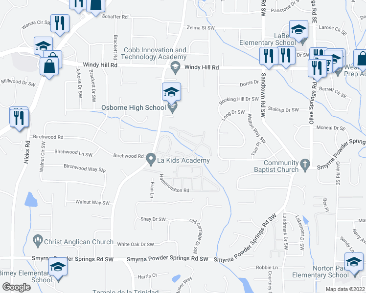 map of restaurants, bars, coffee shops, grocery stores, and more near 2665 Favor Road Southwest in Marietta