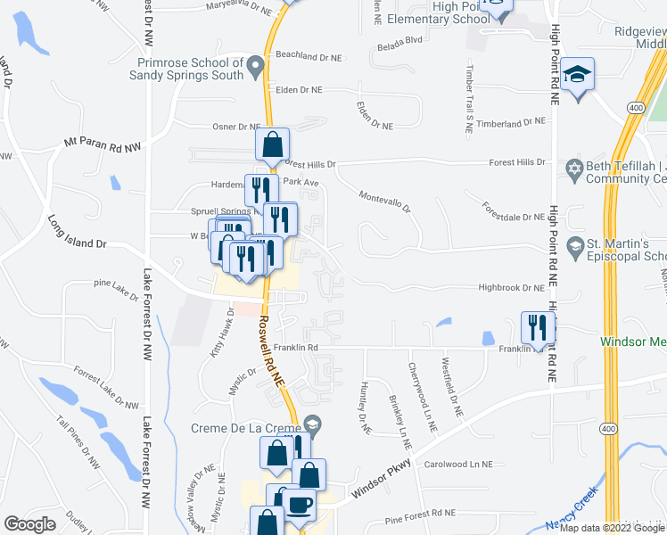 map of restaurants, bars, coffee shops, grocery stores, and more near 295 East Belle Isle Road Northeast in Atlanta