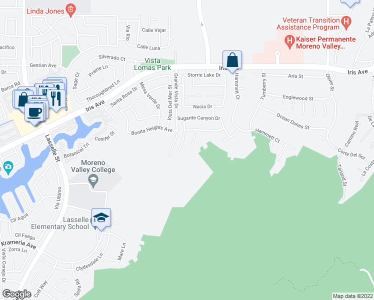 map of restaurants, bars, coffee shops, grocery stores, and more near 15905 Angelfire Court in Moreno Valley
