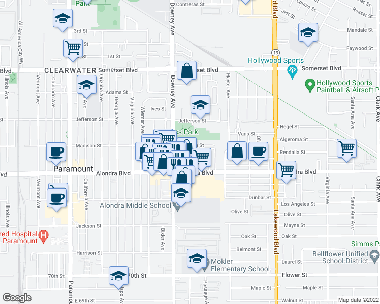 map of restaurants, bars, coffee shops, grocery stores, and more near 8527 Chester Street in Paramount