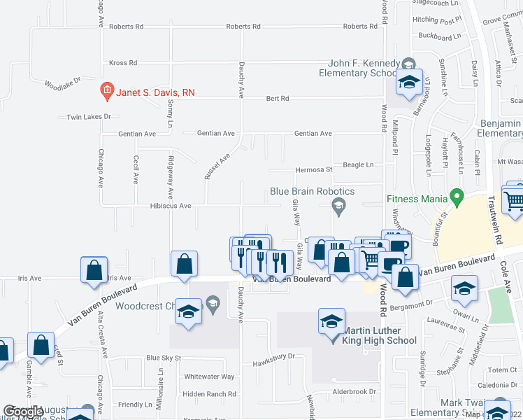 map of restaurants, bars, coffee shops, grocery stores, and more near 18545 Hibiscus Avenue in Riverside