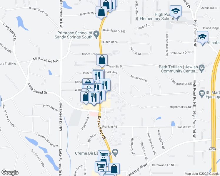 map of restaurants, bars, coffee shops, grocery stores, and more near 100 East Belle Isle Road Northeast in Sandy Springs