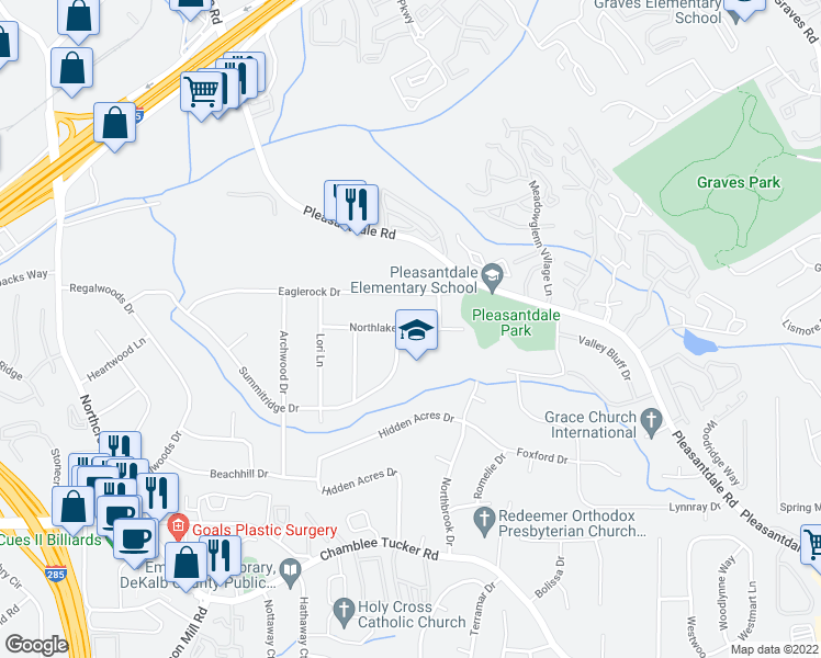 map of restaurants, bars, coffee shops, grocery stores, and more near 3685 Eaglerock Drive in Doraville