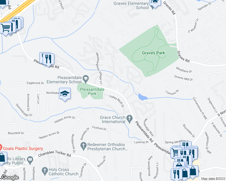 map of restaurants, bars, coffee shops, grocery stores, and more near 3478 Meadow Village Lane in Atlanta