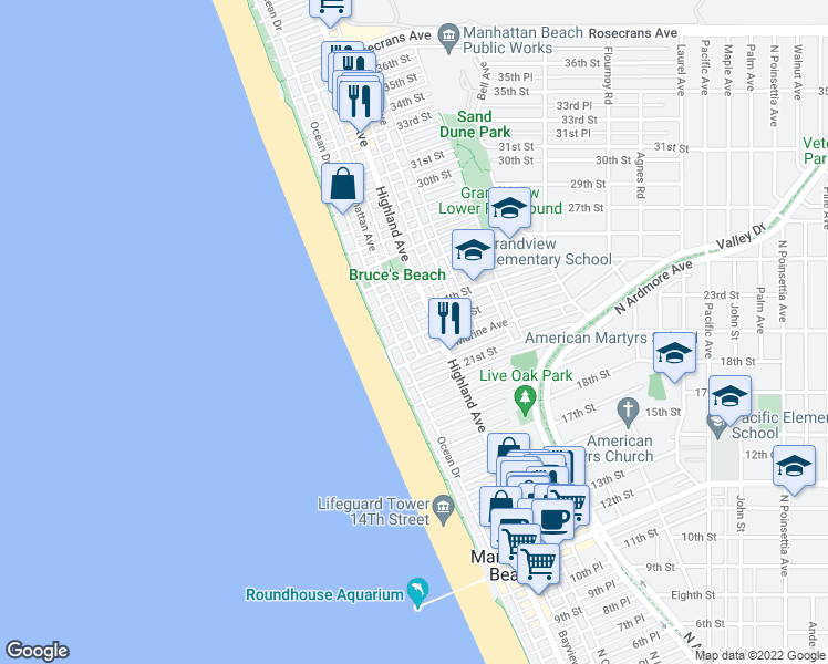map of restaurants, bars, coffee shops, grocery stores, and more near 2300 Manhattan Avenue in Manhattan Beach