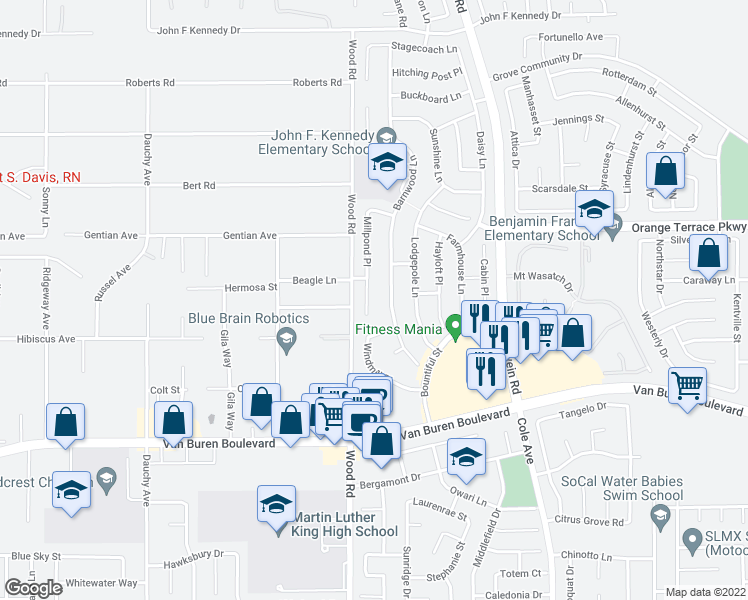 map of restaurants, bars, coffee shops, grocery stores, and more near 8646 Millpond Place in Riverside