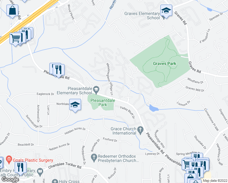 map of restaurants, bars, coffee shops, grocery stores, and more near 3497 Meadowglen Village Lane in Doraville