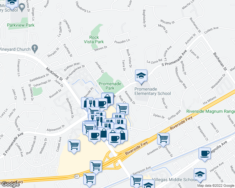 map of restaurants, bars, coffee shops, grocery stores, and more near 2365 South Promenade Avenue in Corona