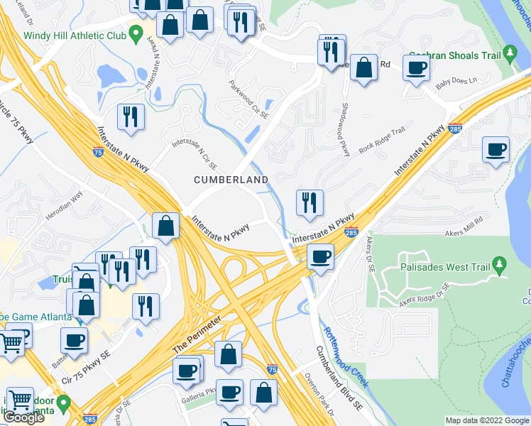map of restaurants, bars, coffee shops, grocery stores, and more near 294 Interstate North Circle Southeast in Atlanta