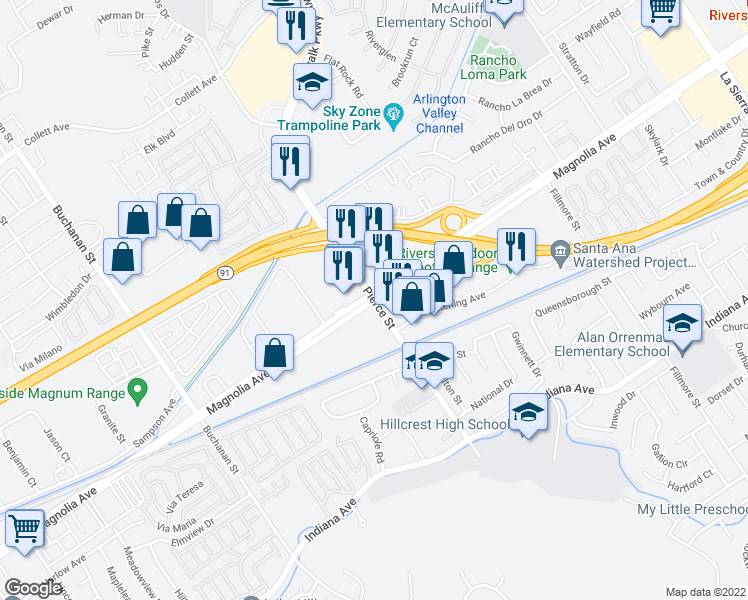 map of restaurants, bars, coffee shops, grocery stores, and more near Magnolia Avenue & Pierce Street in Riverside