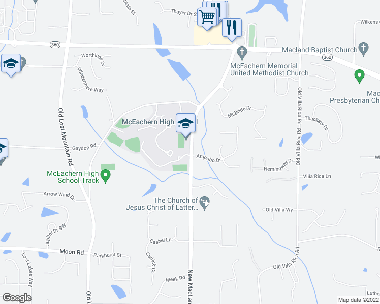 map of restaurants, bars, coffee shops, grocery stores, and more near 2400 New Macland Road in Powder Springs