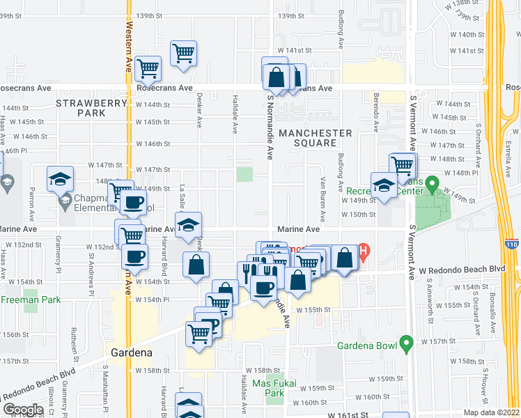 map of restaurants, bars, coffee shops, grocery stores, and more near 14929 Normandie Avenue in Gardena