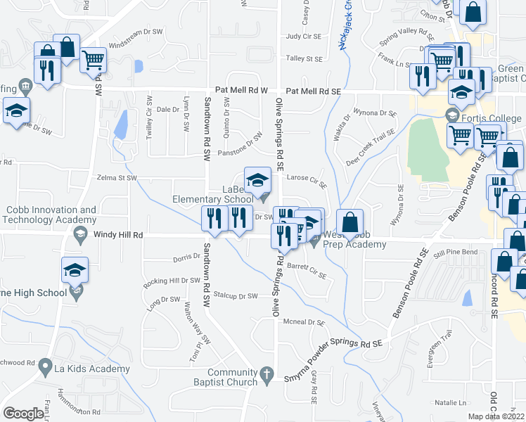 map of restaurants, bars, coffee shops, grocery stores, and more near 56 Larose Drive Southwest in Marietta
