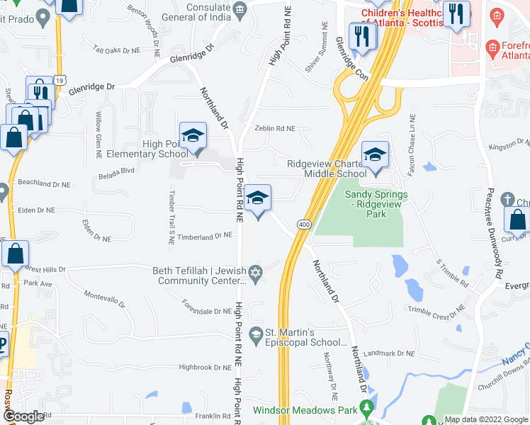 map of restaurants, bars, coffee shops, grocery stores, and more near 130-140 Inland Drive Northeast in Sandy Springs