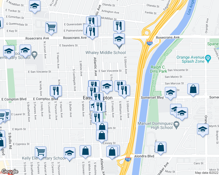 map of restaurants, bars, coffee shops, grocery stores, and more near 14919 S Frailey Ave in Compton