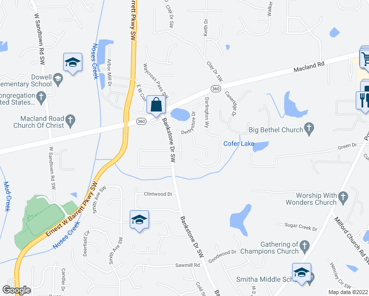map of restaurants, bars, coffee shops, grocery stores, and more near 2155 Derbyshire Drive in Marietta